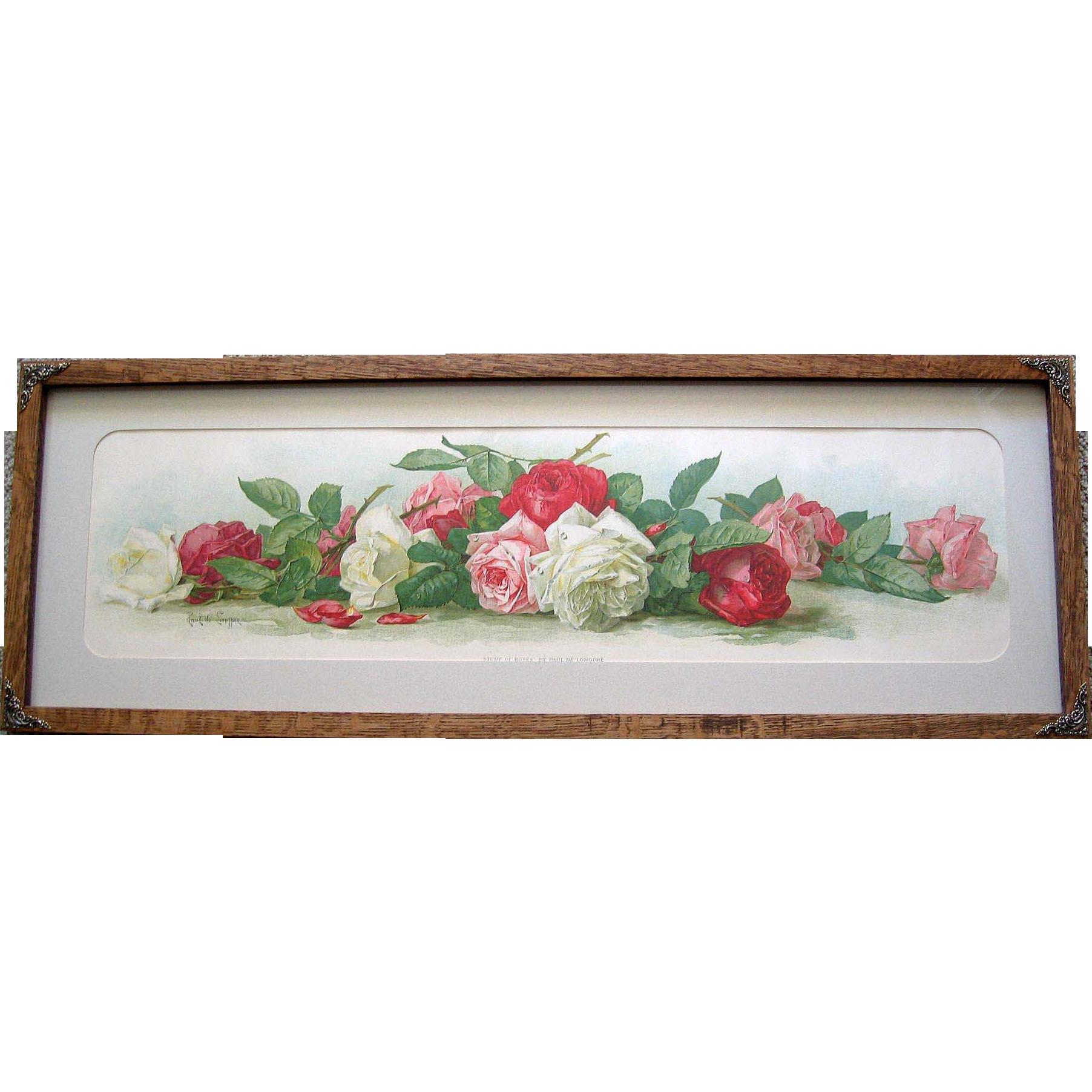 c1895 Rose Yard Long Print Paul de Longpre Study of Roses Antique Victorian