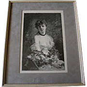 Lady Woman Print Summer Flowers Charles Joshua Chaplin French Antique Engraving Lilacs Vintage Frame