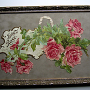 c1900 Catherine Klein Sweet Rose Calendar Print Die Cut Half Yard Long