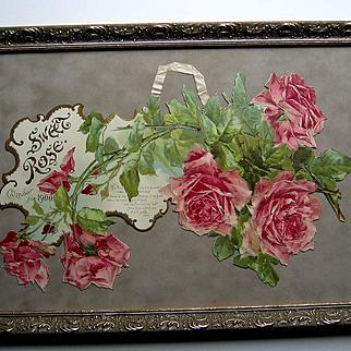 c1900 Catherine Klein Sweet Rose Calendar Print Die Cut Half Yard Long