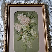 Antique Pink Cabbage Roses Lilacs Print Vouga Chromolithograph Half Yard Long