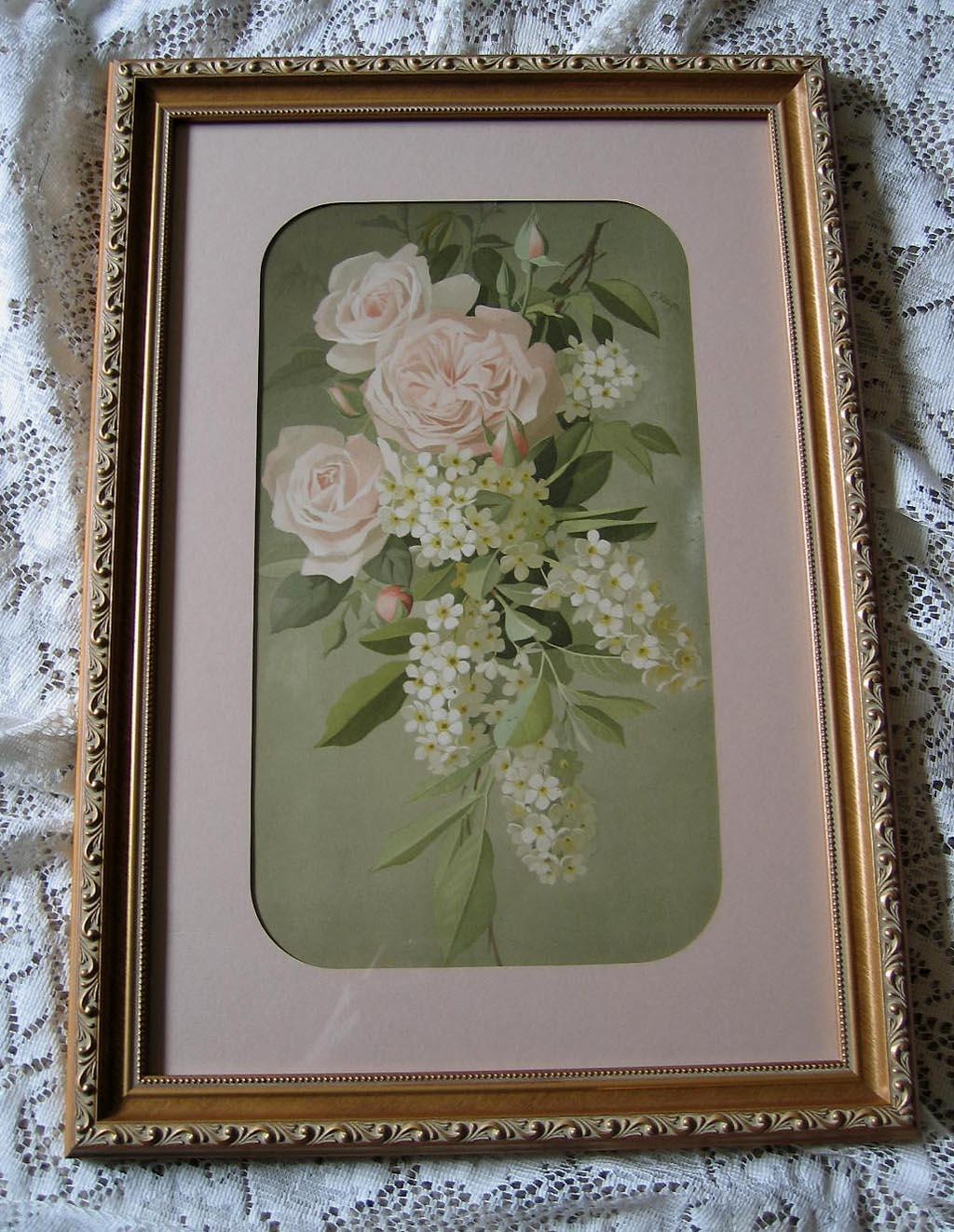Antique Pink Cabbage Roses Lilacs Print Vouga Chromolithograph Half Yard Long
