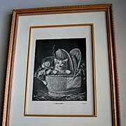 c1910 Cat Kitten Print Lambert Gold Frame