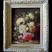 Vintage Roses Print by Jean Baptiste Robie Vintage Gesso Frame