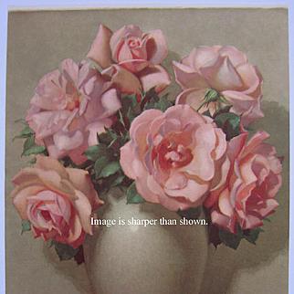 Vintage Pink Roses Print Lavrillier
