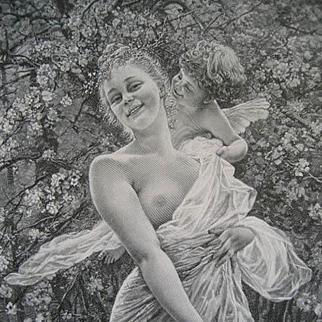 Antique Lady Cupid Print Nude Engraving c1890