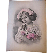 Lady Pink Cabbage Roses Vintage Hydrangeas Print Lithograph Bender
