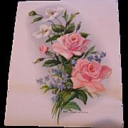 c1920 Pink Roses Calendar Top Print