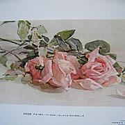 c1912 Antique Roses Print Rhoda Holmes Nicholls Keramic Studio