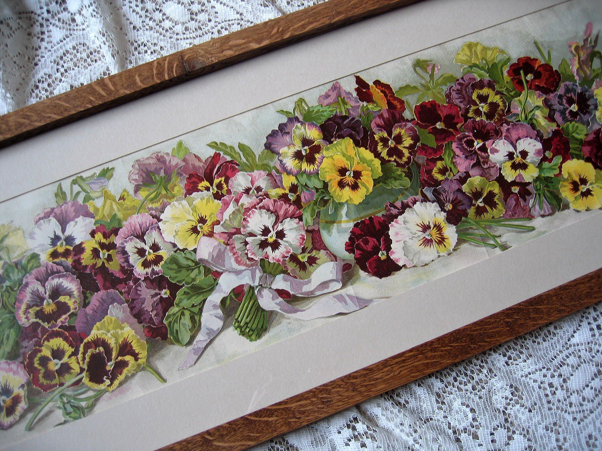 Antique Pansies Yard Long Print Grace Barton Allen Victorian Chromolithograph