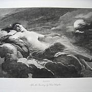 c1880s Antique Lady Nude Print Night Charles Joshua Chaplin Fine Engraving Half Yard Long