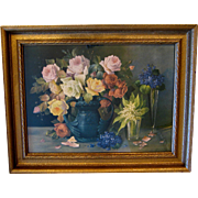 Antique Roses Violets Lily of the Valley Large Print Print Rudolph Stoitzner
