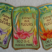 c1890 Three French Perfume Paper Label s Paris Roses Lilacs Carnations Gilt Chromolithograph