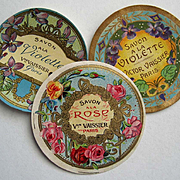 c1890s Three French Perfume Paper Labels ROSES Violets Paris Advertising Print Gilt Mint Print Label