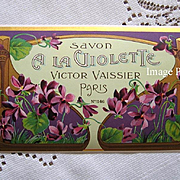 c1890s French Perfume Soap Label Violets Paris Advertising Print Gilt NF