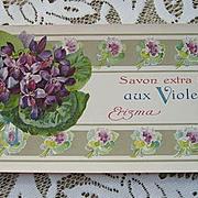 c1890 French Perfume Soap Paper Label Savon Extra Fin Aux Violettes Paris Violets Erizma