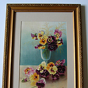 c1890s Pansies Print Henri LeRoy Chromolithograph Half Yard Long Antique