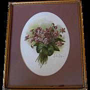 Paul de Longpre Double Violets Print Original Glass Frame Chromolithograph Antique