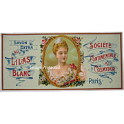 Antique Lady Lilacs Perfume Label Print French