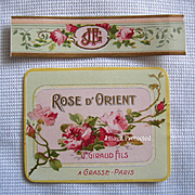 Set Antique Perfume Label Print s Roses French