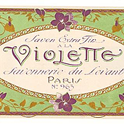 c1890s French Violette Perfume Soap Paper Label Gilt Paris Print Violets