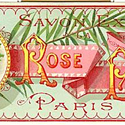 Antique Rose Pompom Perfume Label Print Paris