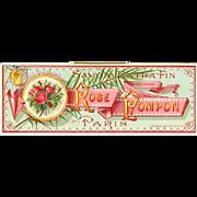 Antique Rose Pompom Perfume Label Print Paris