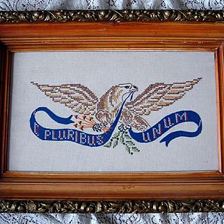 Vintage Eagle Cross Stitch Needlework Textile Antique Frame E Pluribus Unum Provenance Military Patriot Man Cave