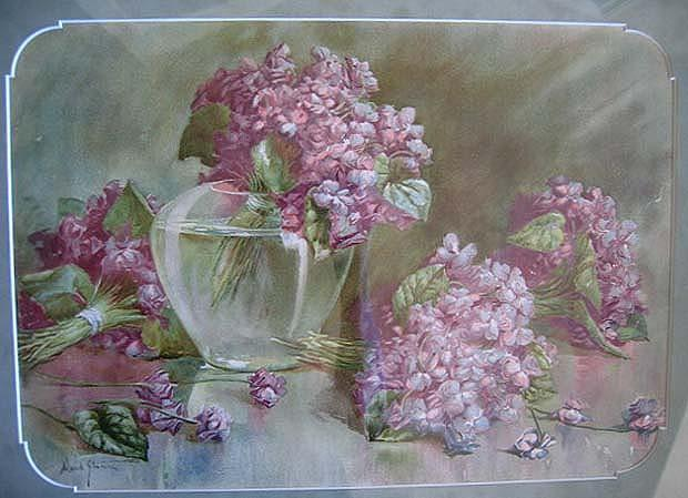 c1890 Violets Print Stumm Chromolithograph Antique Victorian