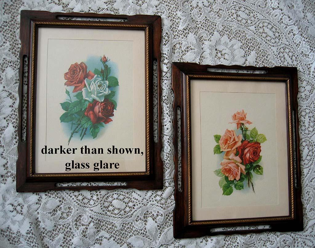 Two Catherine Klein Vintage Rose Print s Original Frame Cabbage Rose Vintage