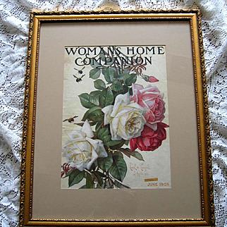 Antique Roses Print Paul de Longpre Magazine Womans Home Companion
