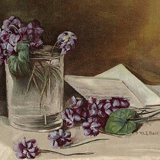 c1895 Violets Print Mary Hart Chromolithograph
