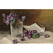 c1895 Violets Print Mary Hart Chromolithograph