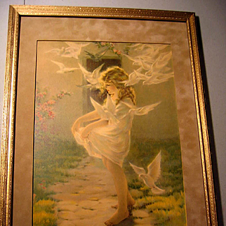 The Winged Aureole Besse Pease Gutmann Print Child Lady Bird Dove Antique