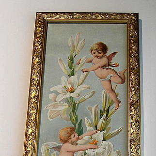 c1894 Cupid Print Easter Greeting Paul de Longpre Antique Victorian Yard Long