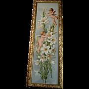 c1894 Cupid Print Easter Greeting Paul de Longpre Antique Victorian Yard Long