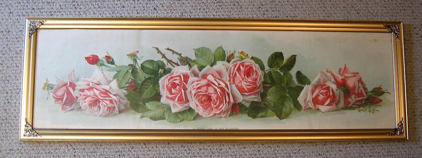 La France Roses Yard Long Print Paul de Longpre Antique c1903 The Art Interchange Book Author Autograph