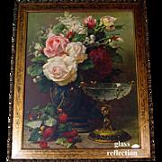 Lg Roses Print Jean Baptiste Robie Raspberries Cupid Cabbage Rose