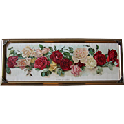 c1895 Yard Long Roses Print Wells Chromolithograph Antique Victorian