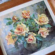 Vintage Roses Print Georges Danset Mid Century Original Frame Intact