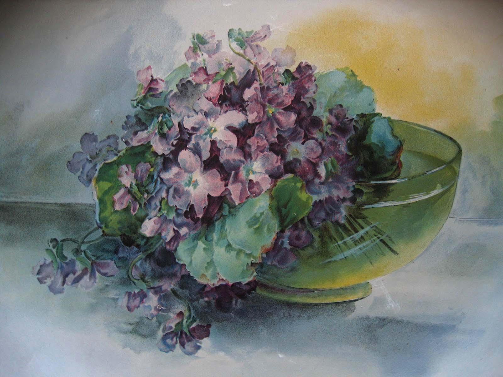 c1898 Violets Tin Charger Maud Stumm Chromolithograph Antique Victorian