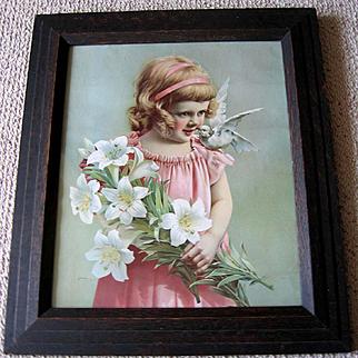 c1890 Girl Dove Bird Lily Print Antique Victorian Chromolithograph Original Frame