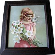 c1890 Girl Dove Bird Lily Print Antique Victorian Chromolithograph Original Frame