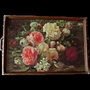 c1930 Jean Baptiste Robie Roses Bird Bee Fragrance in Bloom Print Serving Tray