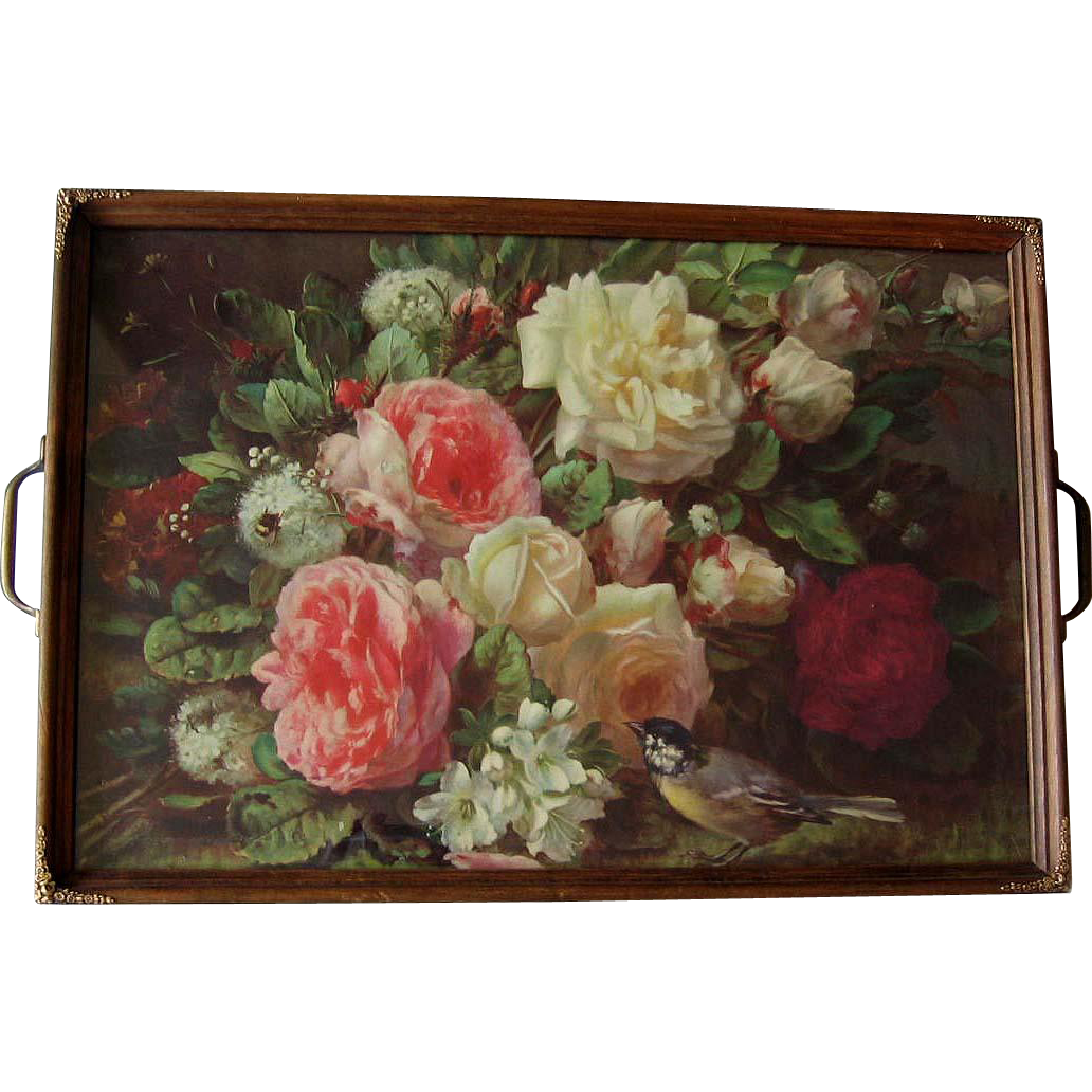 c1930 Jean Baptiste Robie Roses Bird Bee Fragrance in Bloom Print Serving Tray