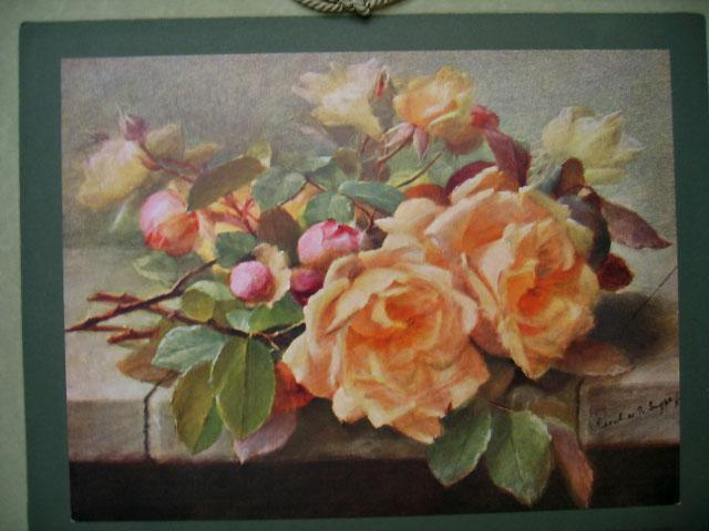 1913 Roses Calendar Print Raoul de Longpre Antique