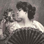 Lady Lilacs Fan Engraving Print c1880 Flower Antique Victorian Engraving