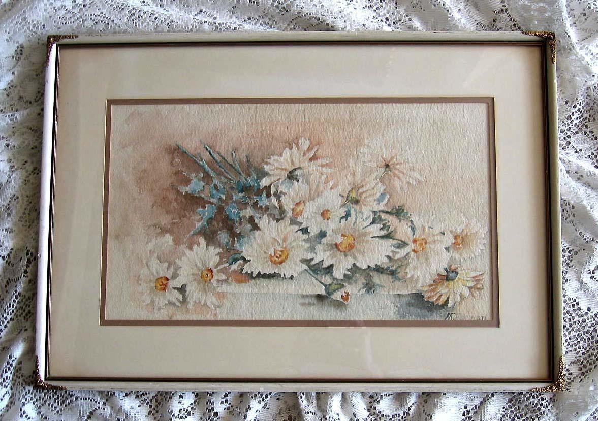 c1900 Edwardian Daisies Watercolor Painting Original Frame Intact Signed Half Yard Long