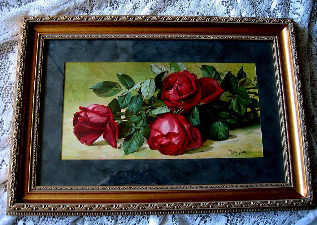 c1893 Roses Print Patty Thum Half Yard Long Jacqueminot Roses Chromolithograph Antique Victorian