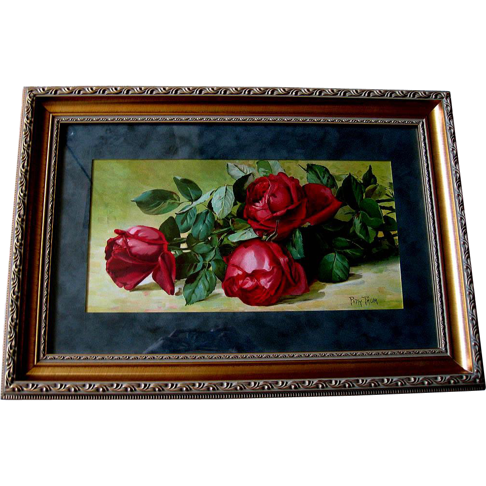 c1893 Roses Print Patty Thum Half Yard Long Jacqueminot Roses Chromolithograph Antique Victorian